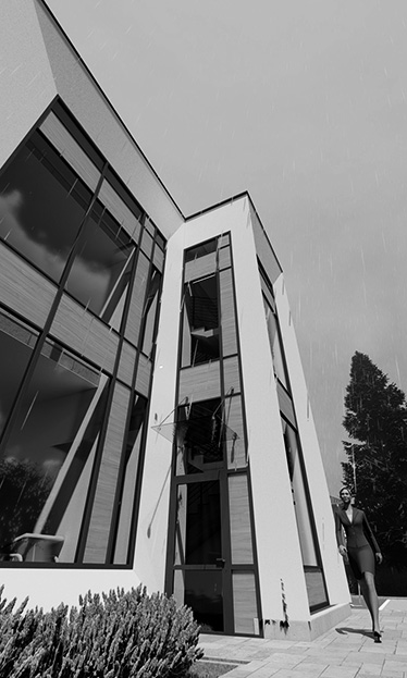 Wizualizacja budynku usługowego